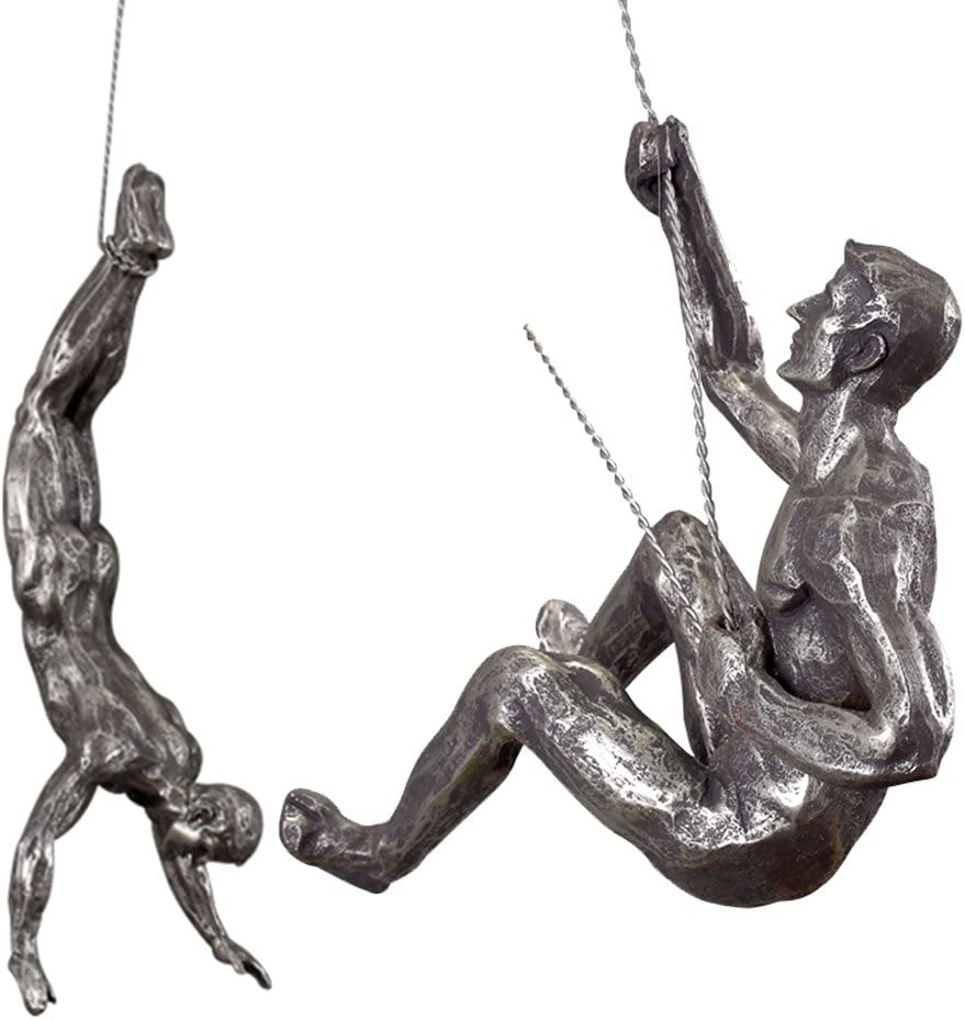 Ibnotuiy Set of 2 Nordic Retro Resin Climbing Man Wall Sculptures Creative Hand-Finished Figurine Bar/Home/Office Art Decor Sculpture (Set B, Silver Rust)