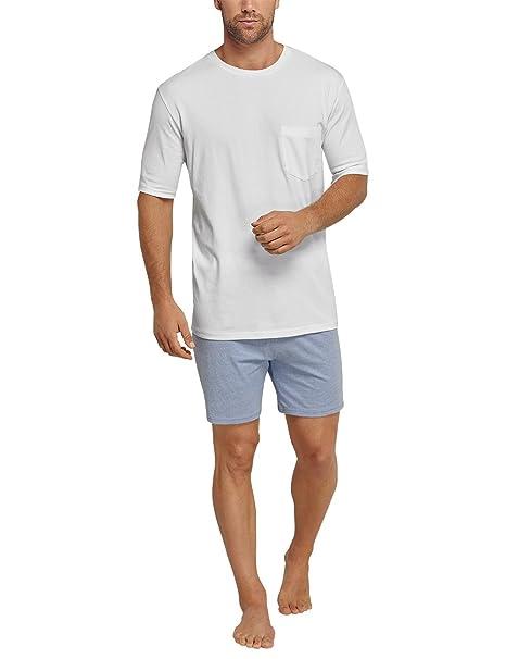 Schiesser Anzug Kurz, Conjuntos de Pijama para Hombre, Blanco (Weiss 100),