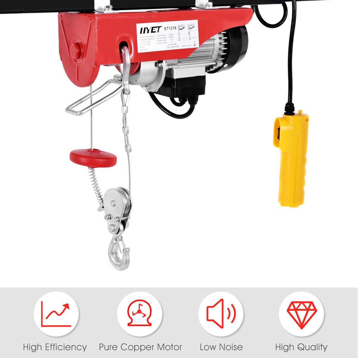 Amazon.com: Goplus Lift Electric Hoist Garage Auto Shop Electric Wire Hoist  Overhead Lift w/Remote Control (440LBS): Home Improvement