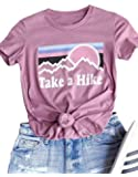 HDLTE Women Casual Tee Take A Hike Letters Printed Round Neck Short Sleeve T-Shirt