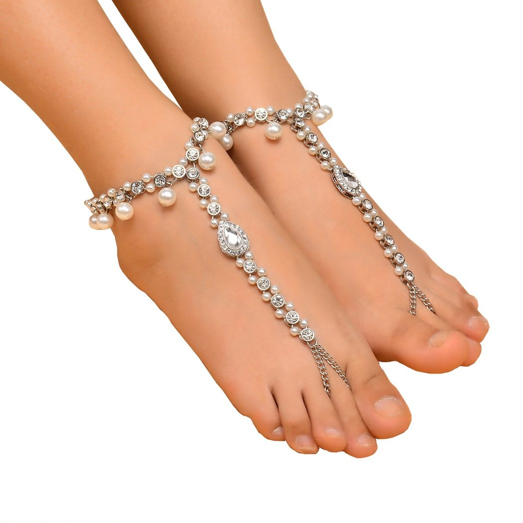SUNSCSC Beach Wedding Foot Jewelry Bead Crystal Anklet Wedding Bridal Accessorie Bridesmaids Gift 2PCS (Silver) by SUNSCSC (Image #1)