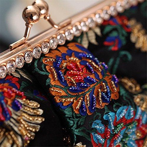 De Mariage Handmade Robe Embrayage Femme Broderie Orfila Fleur De Sac Soirées Black Épaule BWv8fYYxwq