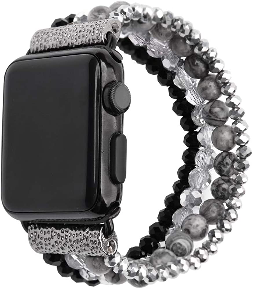 ZOOZOOT Compatible with Apple Watch Band 38mm 40mm 42mm 44mm, Women Girl Elastic Handmade Natural Gemstone Crystal Beads Bracelet Strap for iWatch Series SE/6/5/4/3/2/1