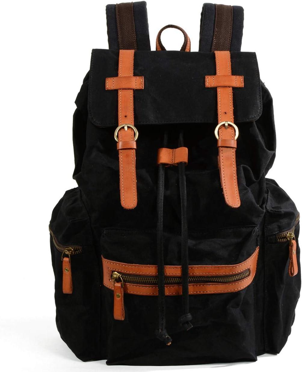 Color : Black TangFeii Backpack Travel Laptop Backpack,Men//Women Backpack Waterproof Vintage Drawstring School Laptop Bag Outdoor Scratch-Resistant