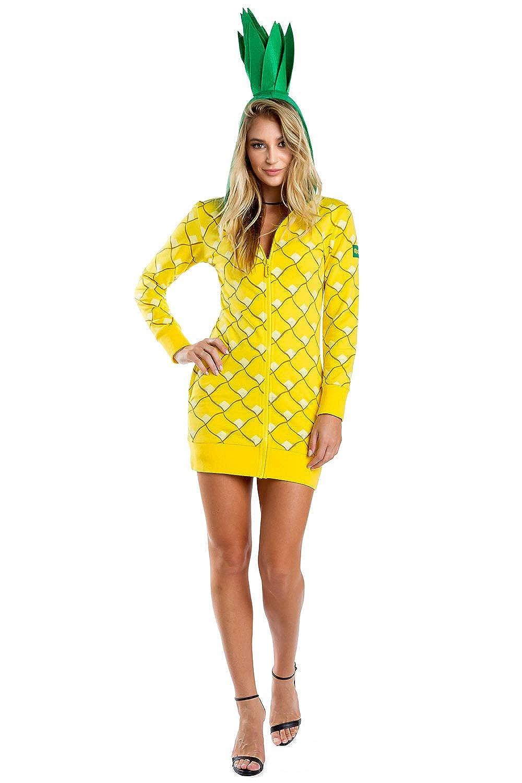 06f43d1eae74 Amazon.com  Tipsy Elves Adult Pineapple Costume Dress for Halloween -  Pineapple Onesie for Women Yellow  Clothing