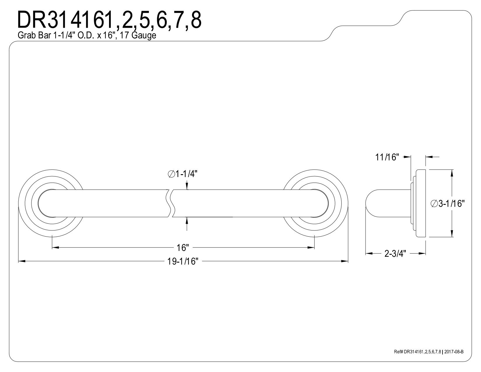 Kingston Brass DR314165 Designer Trimscape Restoration Decor 16-Inch Grab Bar with 1.25-Inch Outer Diameter, Oil Rubbed Bronze
