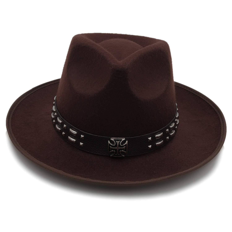 Rzxkad Fashion Women Felt Fedora Hat with Wide Brim Church Jazz Hat Lady Queen Sombrero Fascinators Dad Hat Punk Belt