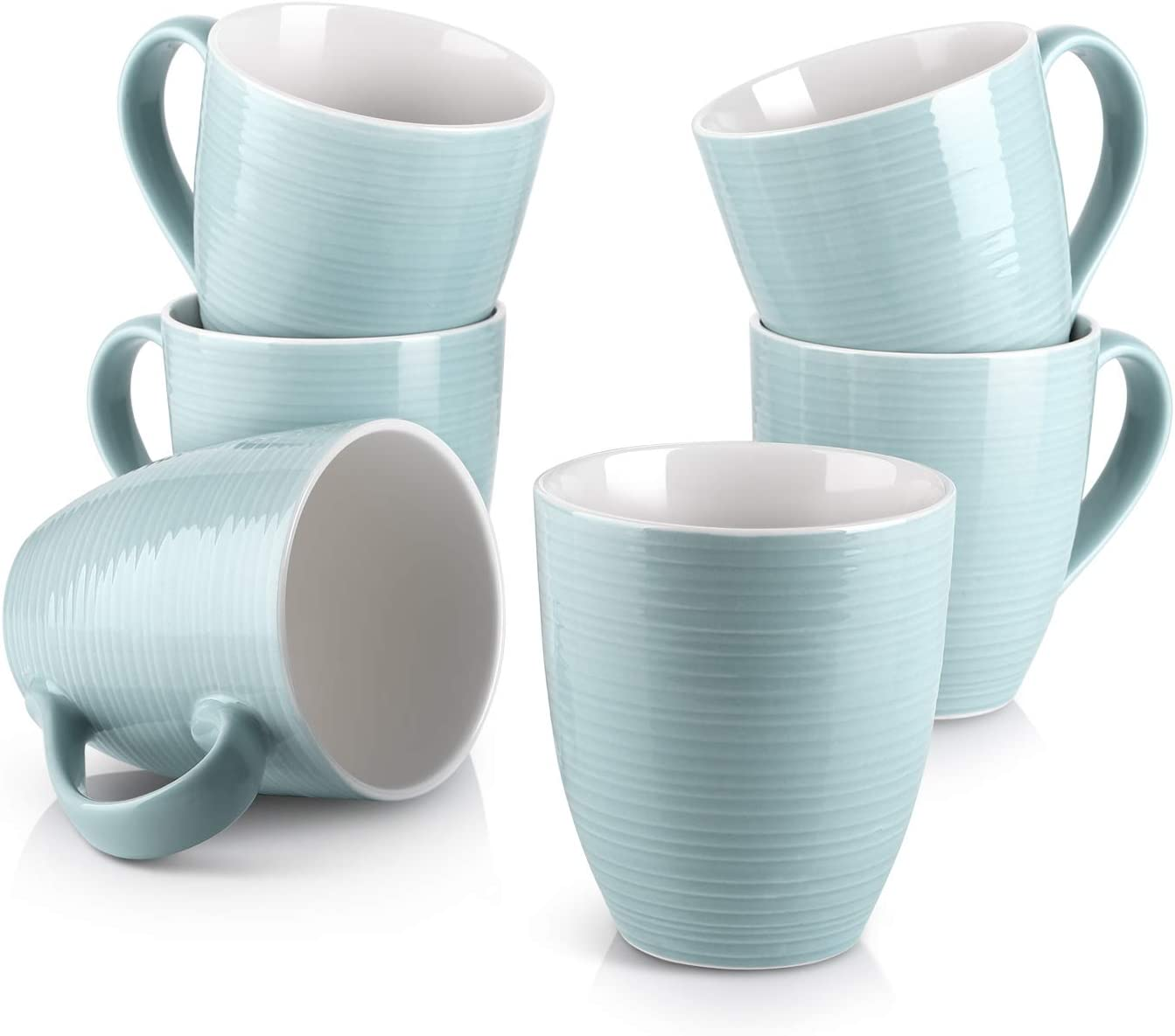DOWAN Coffee Mugs Set - 17 Oz Large Coffee Mug Set of 6 with Handle, Ceramic Mugs for Coffee Tea and Cocoa, Turquoise