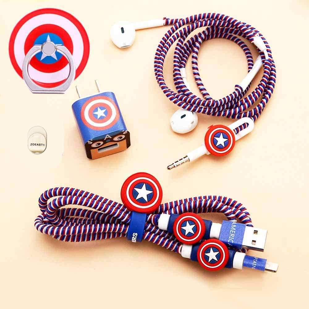 Advanced Styles, Captain America TM ZOEAST DIY Protector Data Cable USB Charger Line Earphone Wire Saver Organizer Compatible with iPhone 11 Pro Max XS XR X 8 Plus iPad iPod iWatch