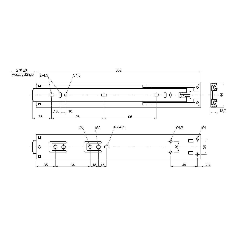 1 par JUNKER Gu/ía para Cajones KV225H45PP 450 mm Push-to-Open Adecuado para Cajones sin Tiradores // Distancia de Disparo 5 mm Capacidad de Carga hasta 25 Kg Carril de Caj/ón Extracci/ón Total