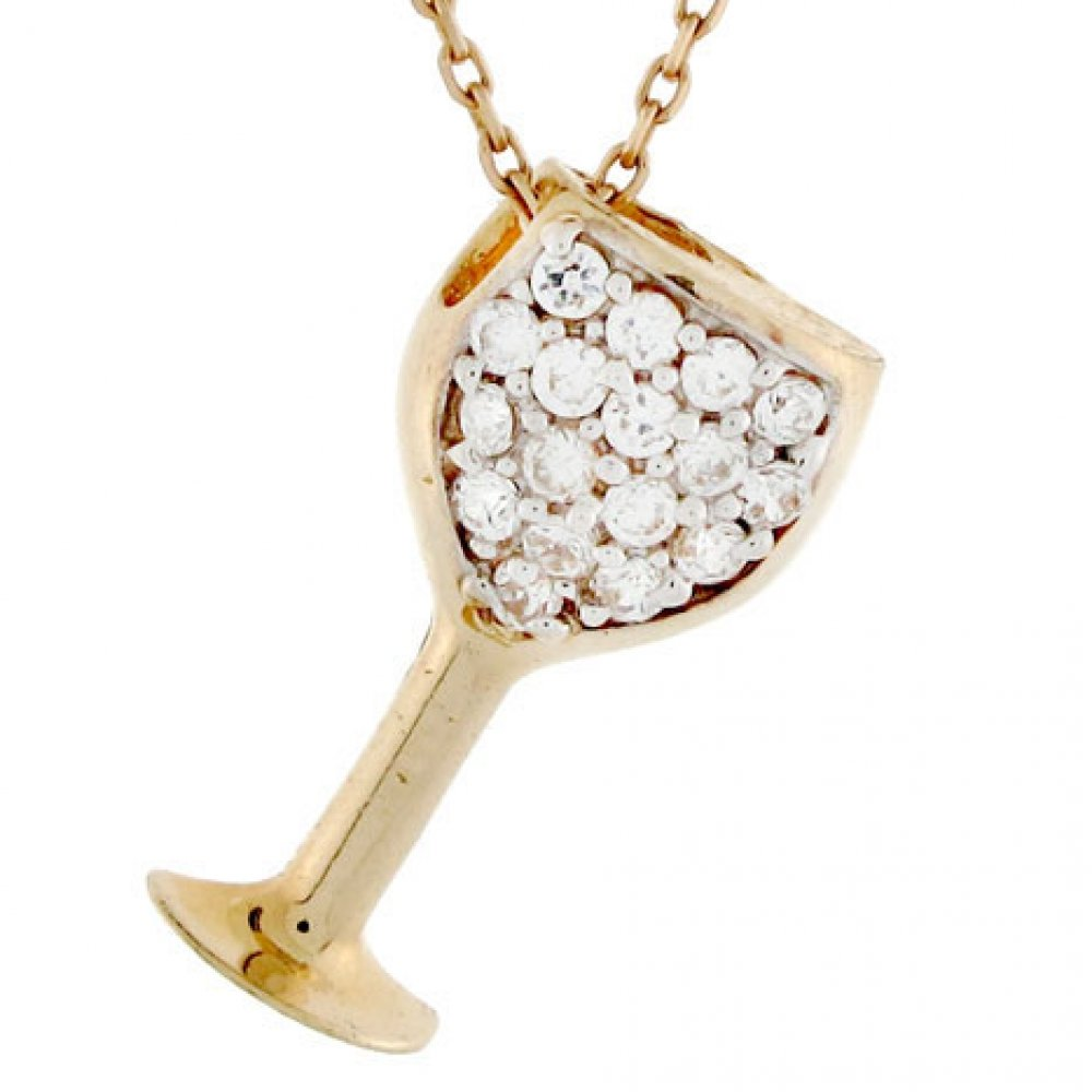 14k Gold White CZ Wine Glass Goblet Party Charm Pendant by Jewelry Liquidation