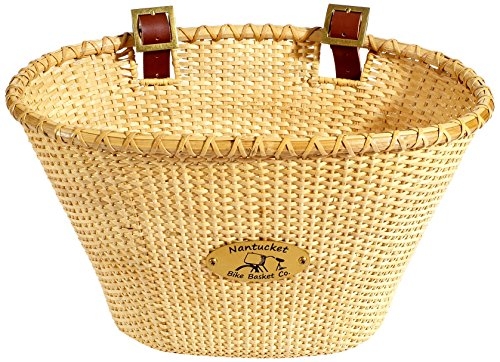 Nantucket Bicycle Basket Co. Lightship Collection Adult Bicycle Basket, Oval, Natural (Sites Santa Monica)