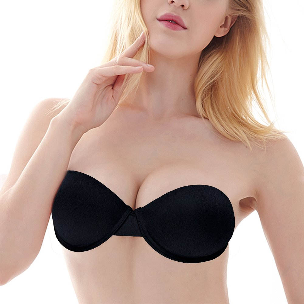 Women's Intimates Bras Vogue Secret Plunge Bra Women Padded Push Up Bra Quality Strapless Convertible Half Cup Sexy Lingerie Bralette Silicone Straps