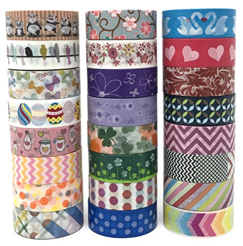 24 Rolls Washi Tape Box Set | Colorful Decorative Masking Tape for All Purposes | Great for DIY Crafts, Kids' Art Projects, Scrapbook, Journal, Planner, Gift Wrapping -