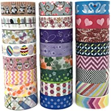 24 Rolls Washi Tape Box Set | Colorful Decorative Masking Tape for All Purposes | Great for DIY Crafts, Kids' Art Projects, Scrapbook, Journal, Planner, Gift Wrapping