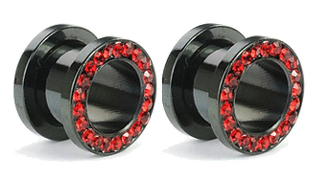 Pair of Black Titanium Red Gem Gauges Tunnels Steel Ear Plugs 10g - 1 Inch (8g)