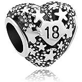 Uniqueen Breloque 16e anniversaire en forme de cœur avec étoiles - Compatible avec bracelets