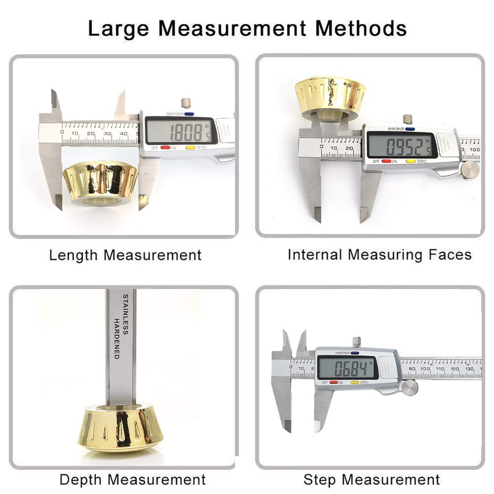 Electronic Digital Caliper Durable Easy Use Depth Gauge Measuring Tool with LED Display Screen Metric Inch Conversion Stainless Steel Measure Kit