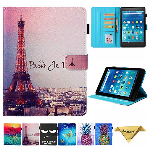Folio Case for Kindle fire HD 8, JZCreater Slim Leather Standing Case Cover with Auto Wake/Sleep for All-New Amazon Fire HD 8 Tablet (8inch 2018 2017 2016, 8th/7th/6th Generation), Paris Tower