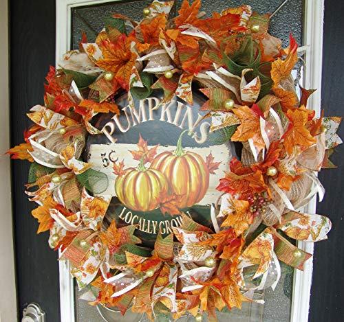 XL Deluxe Fall Pumpkin Deco Mesh Front Door Wreath, Autumn Home Decor, Porch Patio Decoration, Farmhouse Style