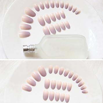 Set de 24 piezas de uñas postizas de larga duración, color degradado: Amazon.es: Belleza