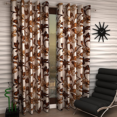 Home Sizzler 2 Piece Eyelet Polyester Window Curtain – 5ft, Brown