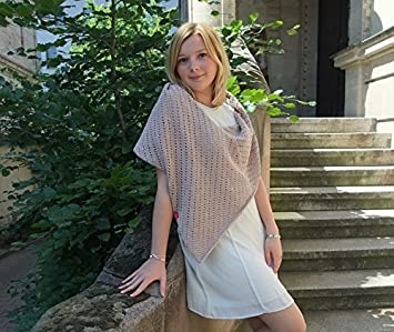 Strickset Poncho In Beige Mit Cotton Pure Wolle Von Myoma Sommer