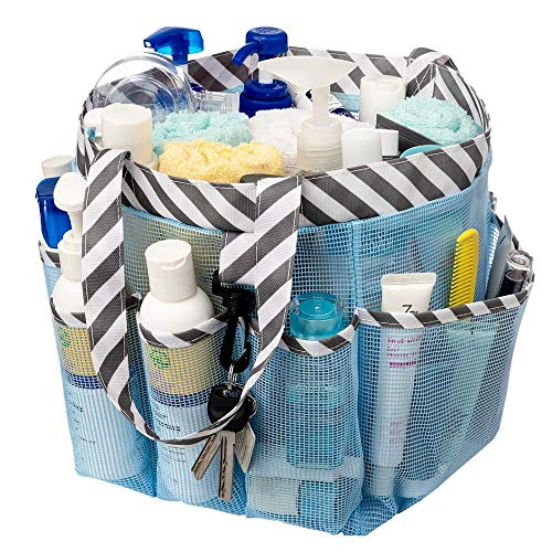 SANNO Mesh Shower Caddy Portable for College Dorm, Large Bathroom Tote Bag with 8 Pockets,Thick Blue