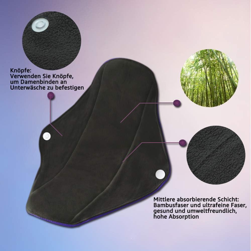 Conpro 4 Pcs 25.5cm Serviette Hygi/énique Lavable Pads Menstruel Chiffon Plus /écologique Serviette Menstruelle R/éutilisables au Fibre de Bambou sain et /économique