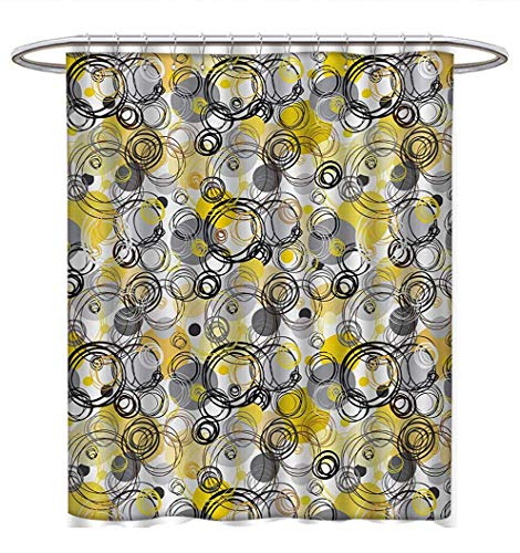 Anhuthree Grey and Yellow Shower Curtain Collection by Hand Drawn Sketchy Geometrical Retro Modern Circles Image Satin Fabric Sets Bathroom W72 x L72 Brown Beige Black and White (Conrad Collection Lauren)