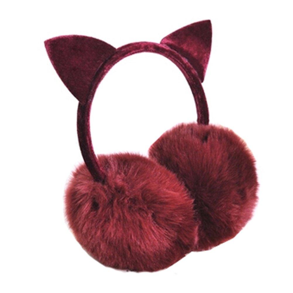Lovely Cat Ears Super Soft Earmuffs Winter Earmuffs Ear Warmers, Wine Red KE-CLO2474962011-JELLY04613