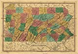 Vintage 1829 Map of Pennsylvania. Shows roads, canals, railroads, and proposed railroads. Counties are distinguished by color. Main mountain ridges are shown by hachures. Earliest general map of the state to show railroads. Pennsylvania, United States