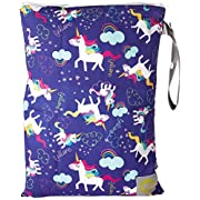 Itzy Ritzy Travel Happens Sealed Wet Bag with Adjustable Handle, Unicorn Dreams, Purple