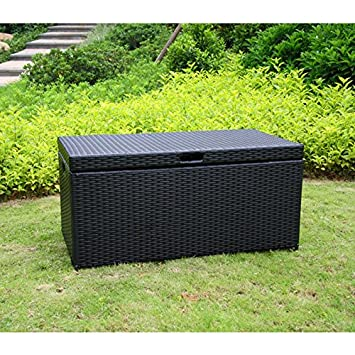 Jeco Wicker Patio Storage Deck Box In Black