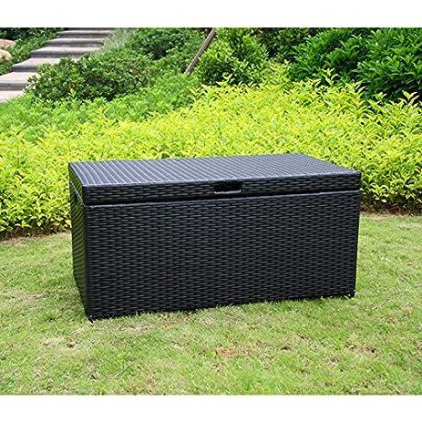 Perfect Jeco Wicker Patio Storage Deck Box In Black