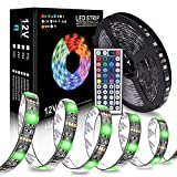 WOLFWILL 16.4ft/5M Waterproof RGB 300 LED Strip Light SMD5050 Dimmable Neon Color Changing Kit with 44 Key Remote 5A Power Supply