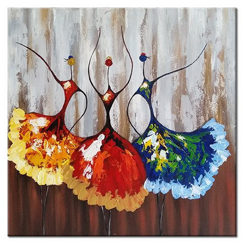 Wieco Art - Ballet Dancers Modern Decorative Colorful Artwork 100% Hand Painted Stretched Contemporary Abstract Oil Paintings on Canvas Wall Art for Living Room Bedroom Home Decorations 24x24inch