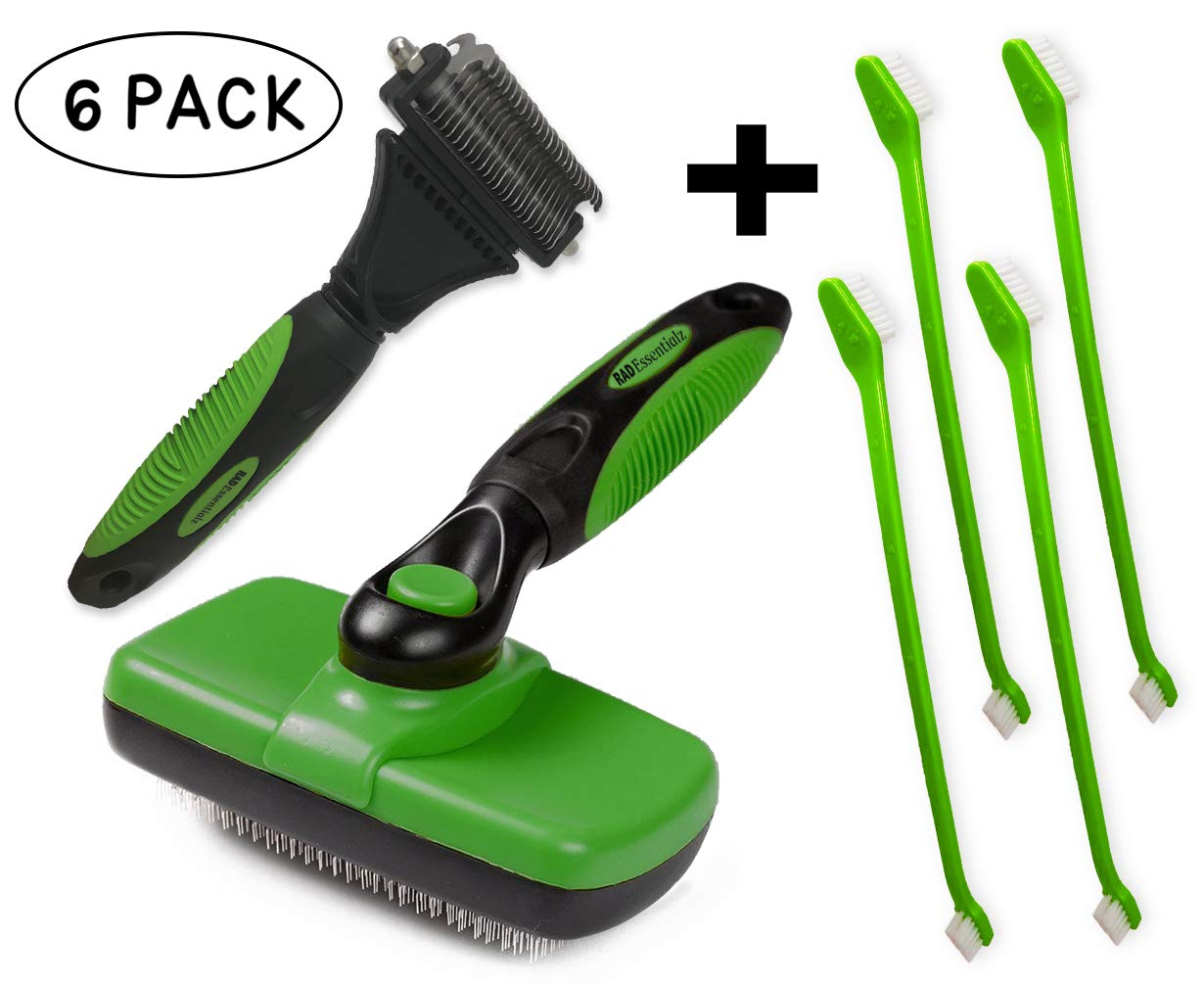 Rad Essentialz Slicker Brush and 2 Sided Undercoat Rake for Dogs & Cats - Pet Grooming Tool - Safe Dematting Comb to Remove Tangles & Mats - Gently Remove Loose Undercoat by Rad Essentialz