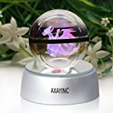 AXAYINC 3D Crystal Ball LED Night Lights Advance Laser Engraving Children's Gift (Charizard)