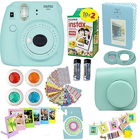 Fujifilm Instax Mini 9 Instant Camera Ice Blue + Fuji Instax Film Twin Pack (20PK) + Blue Camera Case + Frames + Photo Album + 4 Color Filters And More Top Accessories Bundle