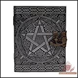 Handmade Silver Pentagram Pentacle Book of Shadows Embossed Leather Journal Notebook Organizer Daily Planner Office Diary Appointment Diary Wicca Pagan 5 x 7 inches