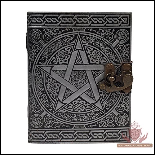 (Handmade Leather Journal Silver Pentagram Wicca Pagan Pentacle Book of Shadows Embossed Notebook Diary Appointment Organizer Daily Planner Office Diary 6 x 8 inches)