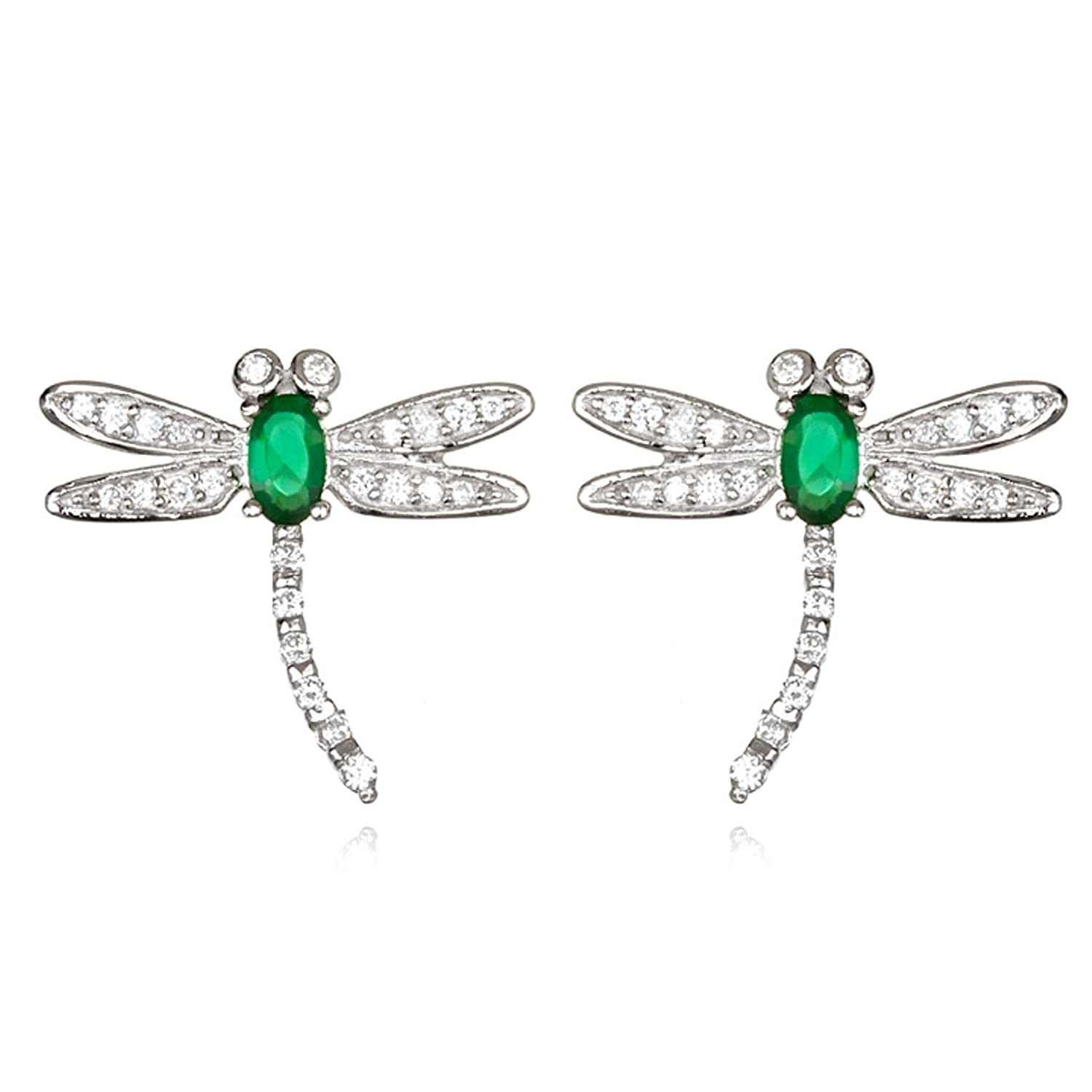 Rhodium Plated Silver Simulated Emerald Mini Dragonfly Earring