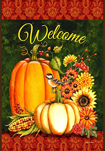 - Toland Home Garden Welcome Gourds 28 x 40 Inch Decorative Fall Autumn Harvest Pumpkin Flower House Flag