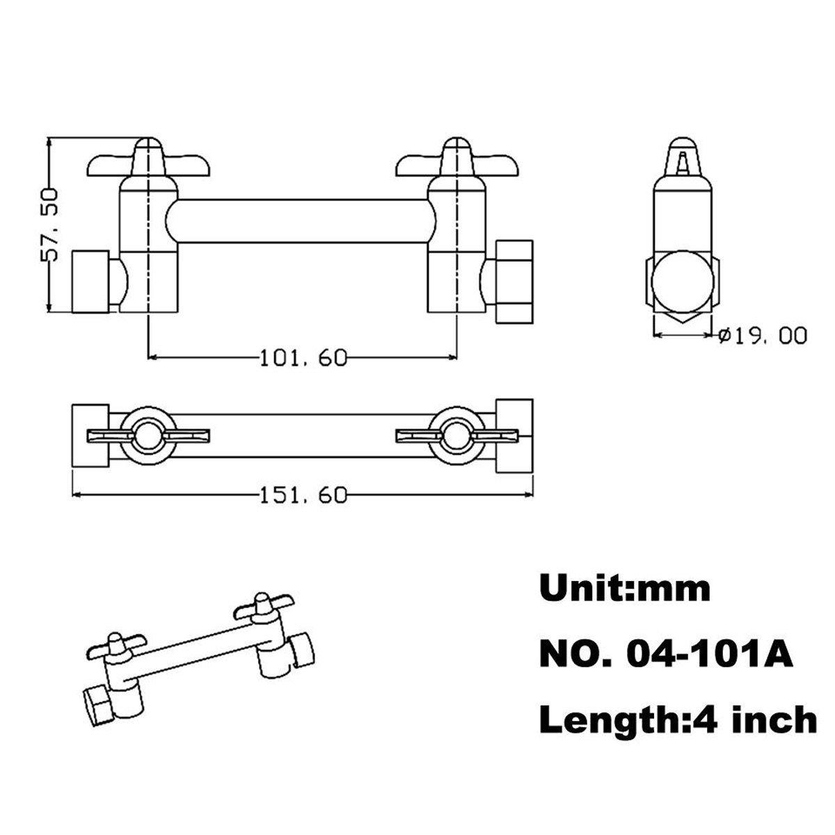 HANEBATH 4 Inch Brass Shower Arm Shower Head Combo Adjustable Height Arm Mount,Chrome by HANEBATH (Image #2)