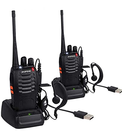 BaoFeng BF-888S Walkie Talkies for Adults Long Range Two Way Radios UHF 400-470Mhz 16 Channels 1500mAh Li-ion USB Rechargeable with Earpiece 2 Pack, Black