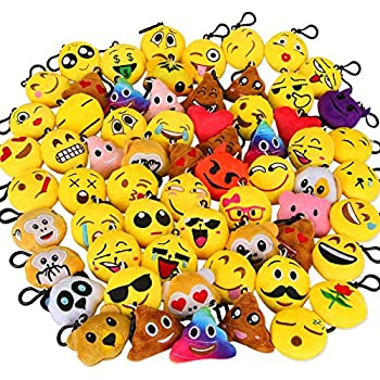 Ivenf Pack Of 50 5cm 2 Emoji Poop Plush Keychain Birthday Party Favors Supplies