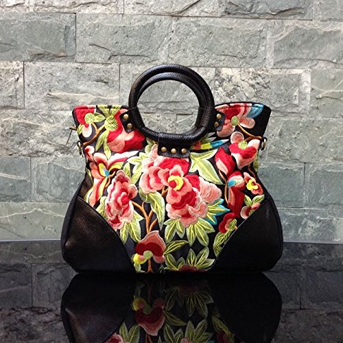 diseño Flor Flower Bolas y leather Viento This bag Clusters Mano Birster Bordada is Girl de de cloth Piel Bolso a con de Purple de qXZ0Pf7w