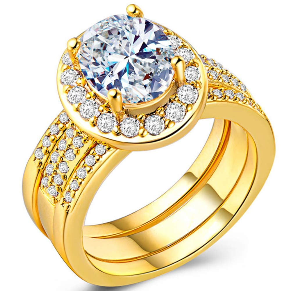 TIVANI Women's 3PCS Pretty 18K White Gold Plated CZ Crystal Bridal Wedding Engagement Band Set Best Anniversary Promise Rings Her Eternity Love Collection Jewelry Heart Arrow Rings (Yellow Gold, 8)