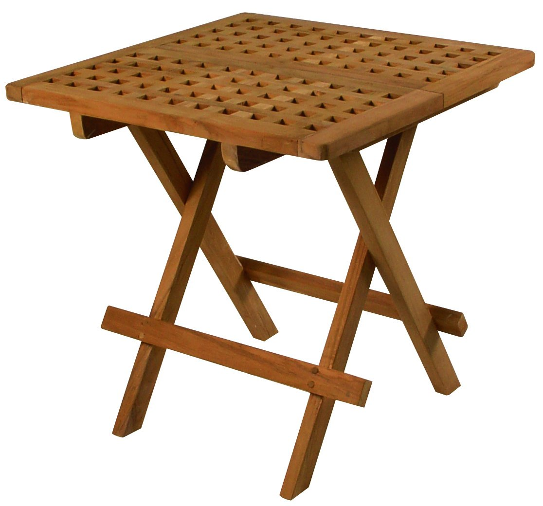 SeaTeak 60030 Square-Grate Top Folding Deck Table, Oiled Finish